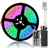SUPERNIGHT LED Strip Light Waterproof,32.8ft 10M 600leds Color Changing SMD 5050 LED Light Strip Kit,Flexible RGB LED Tape with Remote Controller and 24V 5A Power Supply