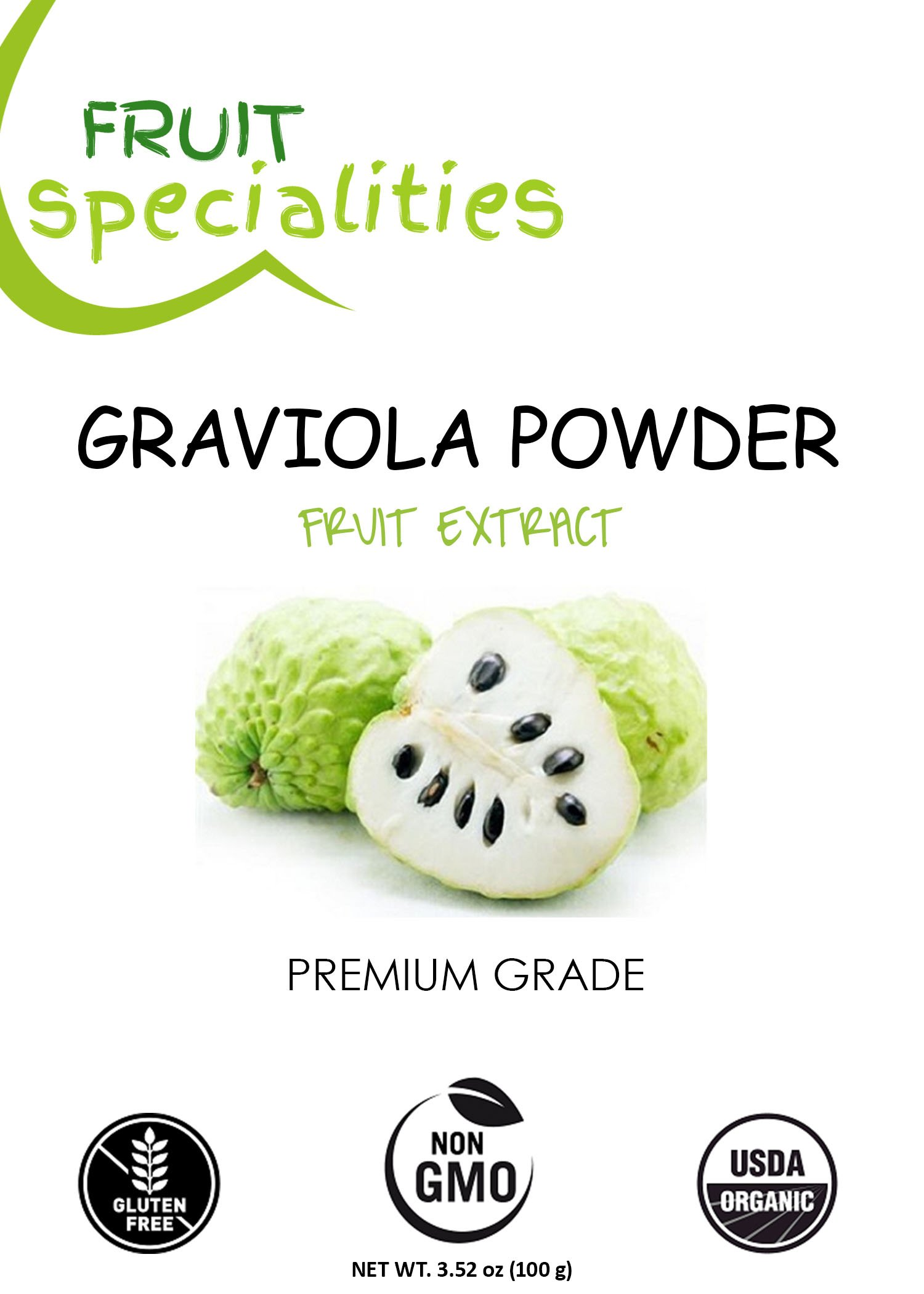 Graviola (Soursop) FRUIT Powder, 100% Natural, Pure Fruit Powder 2.2 lb (10:1 Extract) Annona Muricata Guanabana