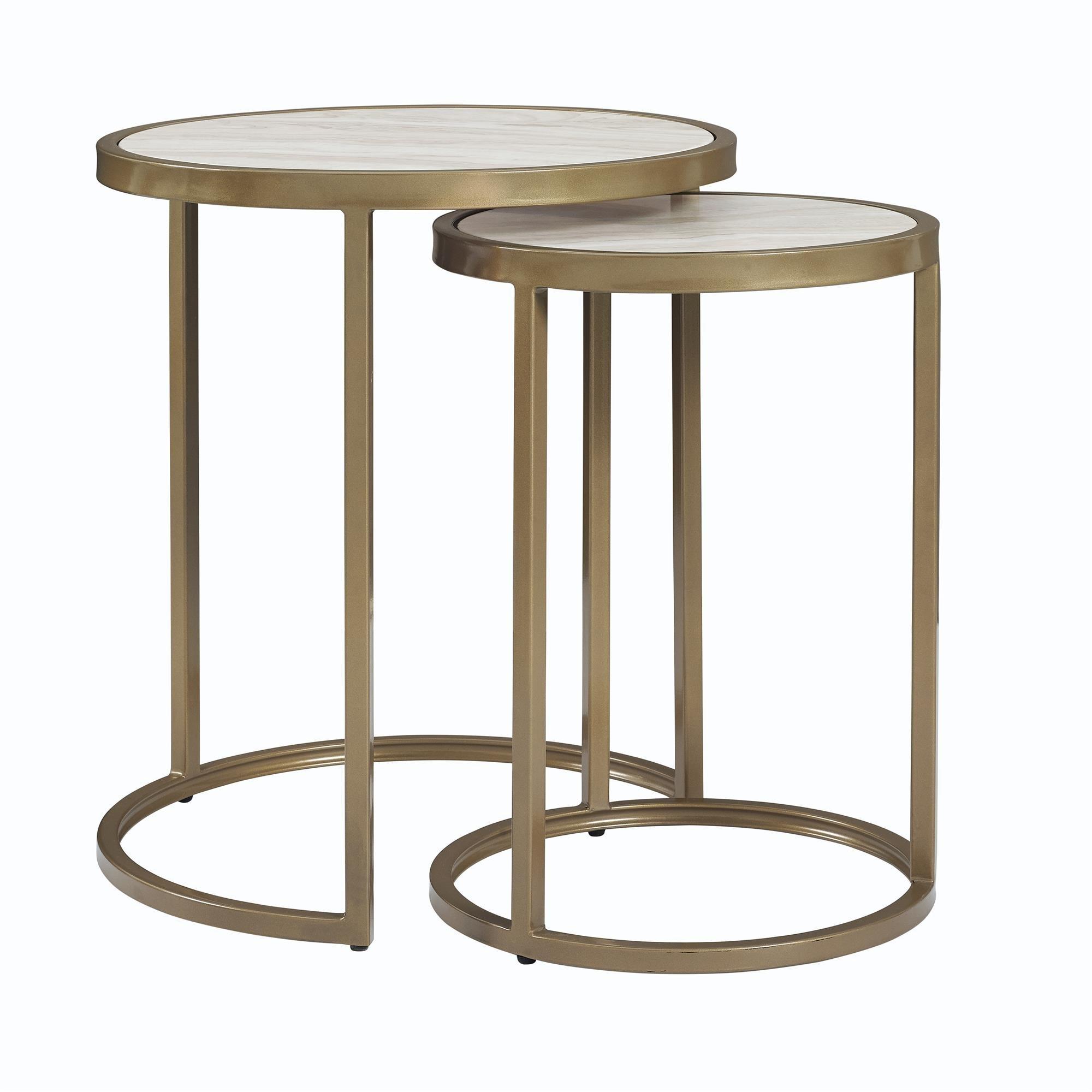 Dorel Living Moriah Nesting Tables, Soft Brass, Faux Marble by Dorel Living
