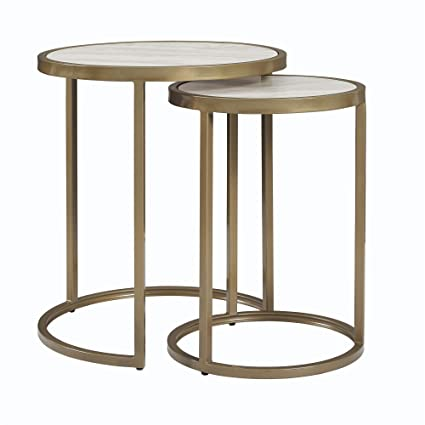 Amazoncom Dorel Living Moriah Nesting Tables Soft Brass Faux - Marble and brass end table