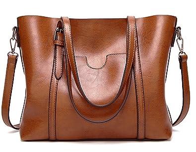 b48751241d9b5 ECOTISH Premium Damen Handtasche Leder Henkeltasche Vintage Umhängetasche  Schultertasche große Kapazität Shopper Tasche Tote (Braun