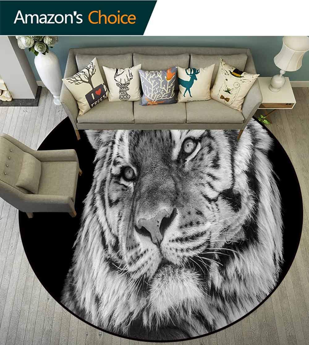 RUGSMAT Tiger Rug Round Home Decor Area Rugs,Close-Up Photo of A Wild Feline Beast with an Intense Gaze Strength of A Hunter Non-Skid Bath Mat Living Room/Bedroom Carpet,Diameter-71 Inch