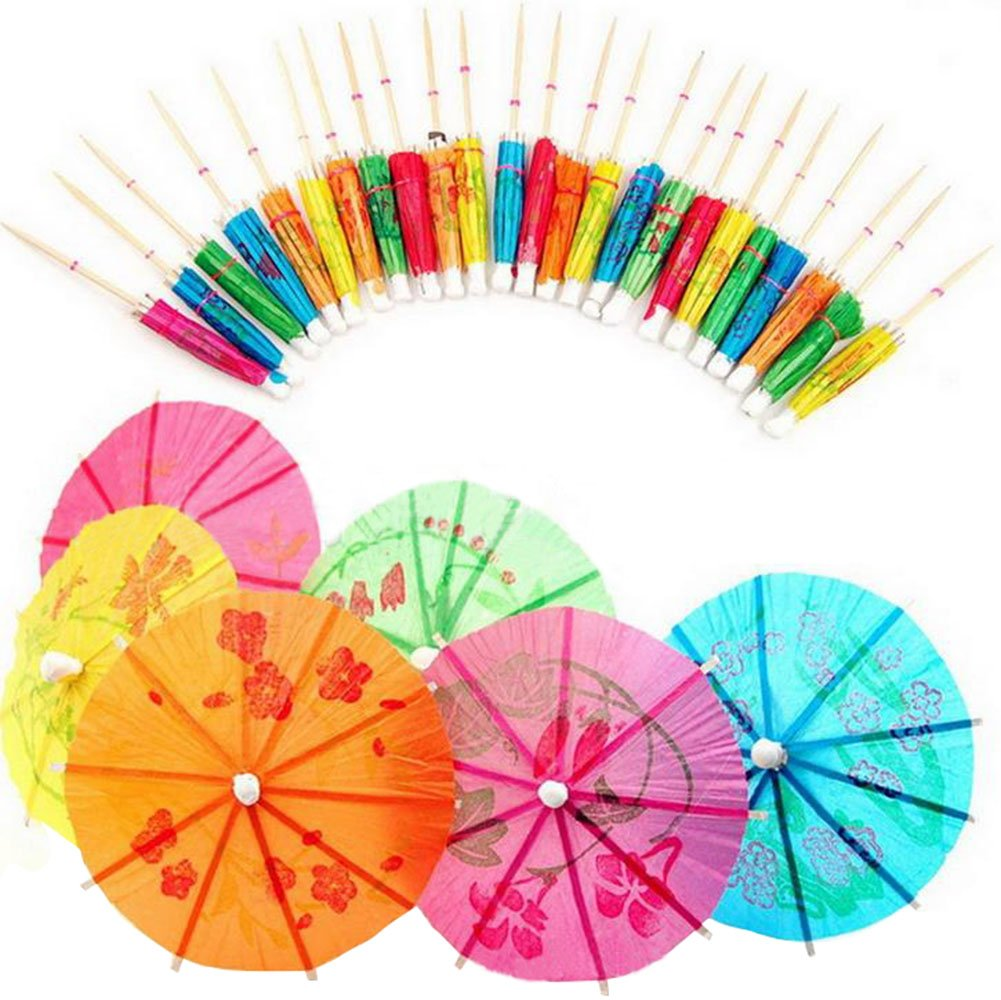 Hosaire Cocktail Parasol Drink Umbrellas Picks 114 Counts Cute Cocktail Sticks 4 Inches Plates Cake Drink Picks Party Supplies
