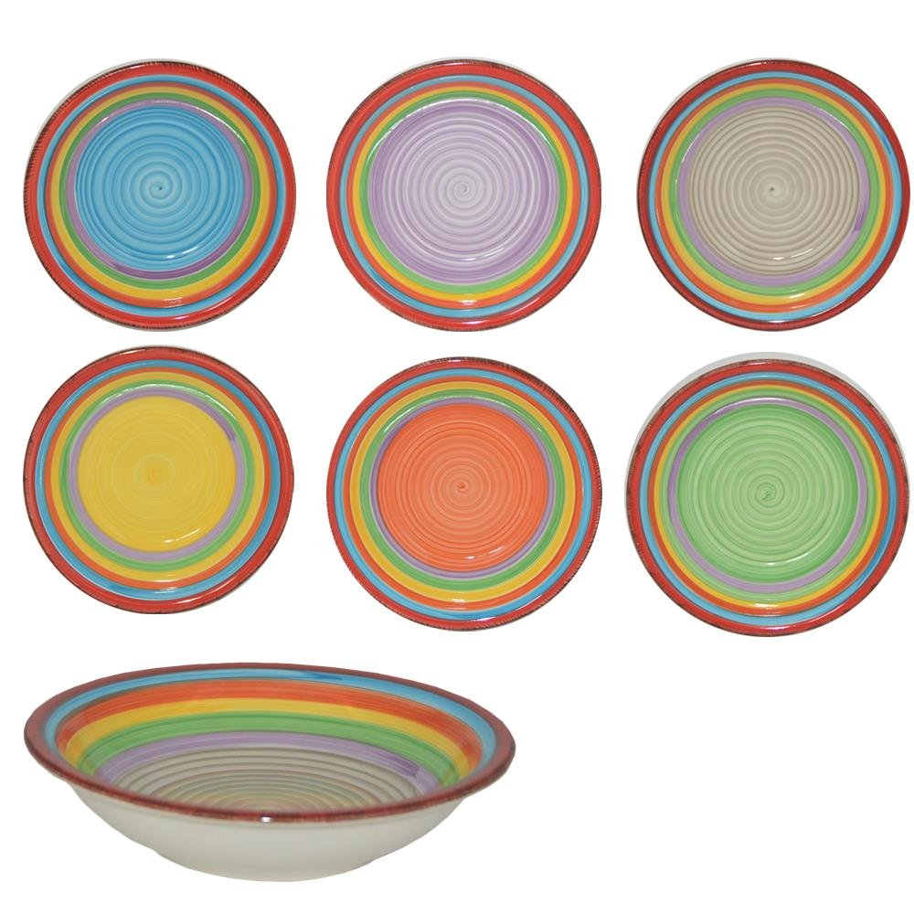 Druline 18-Piece Crockery Set 12-Piece Dinner Service Porcelain Colourful Ibiza