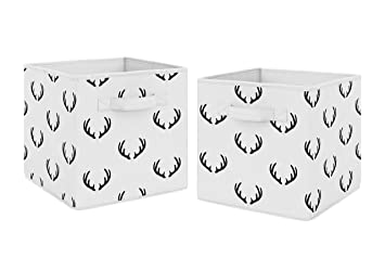 Set of 2 Grey Deer Foldable Fabric Storage Cube Bins Boxes Organizer Toys Kids Baby Childrens for Woodland Deer Stag Collection by Sweet Jojo Designs