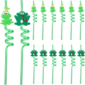 PAMASE 12pcs Passover Frog Straws- PVC Cartoon Frog Decorative Straws Passover Decor for Kids Toy Your Passover Party Seder Table (2 Style, 6pcs for Each)