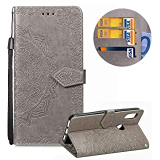 Leather Wallet Case for Xiaomi Redmi Note 5 Pro,Moiky Stylish Green Mandala embossed Pattern Soft PU Leather Magnetic Stand Clamshell Case Silicone Rubber Cover for Xiaomi Redmi Note 5 Pro
