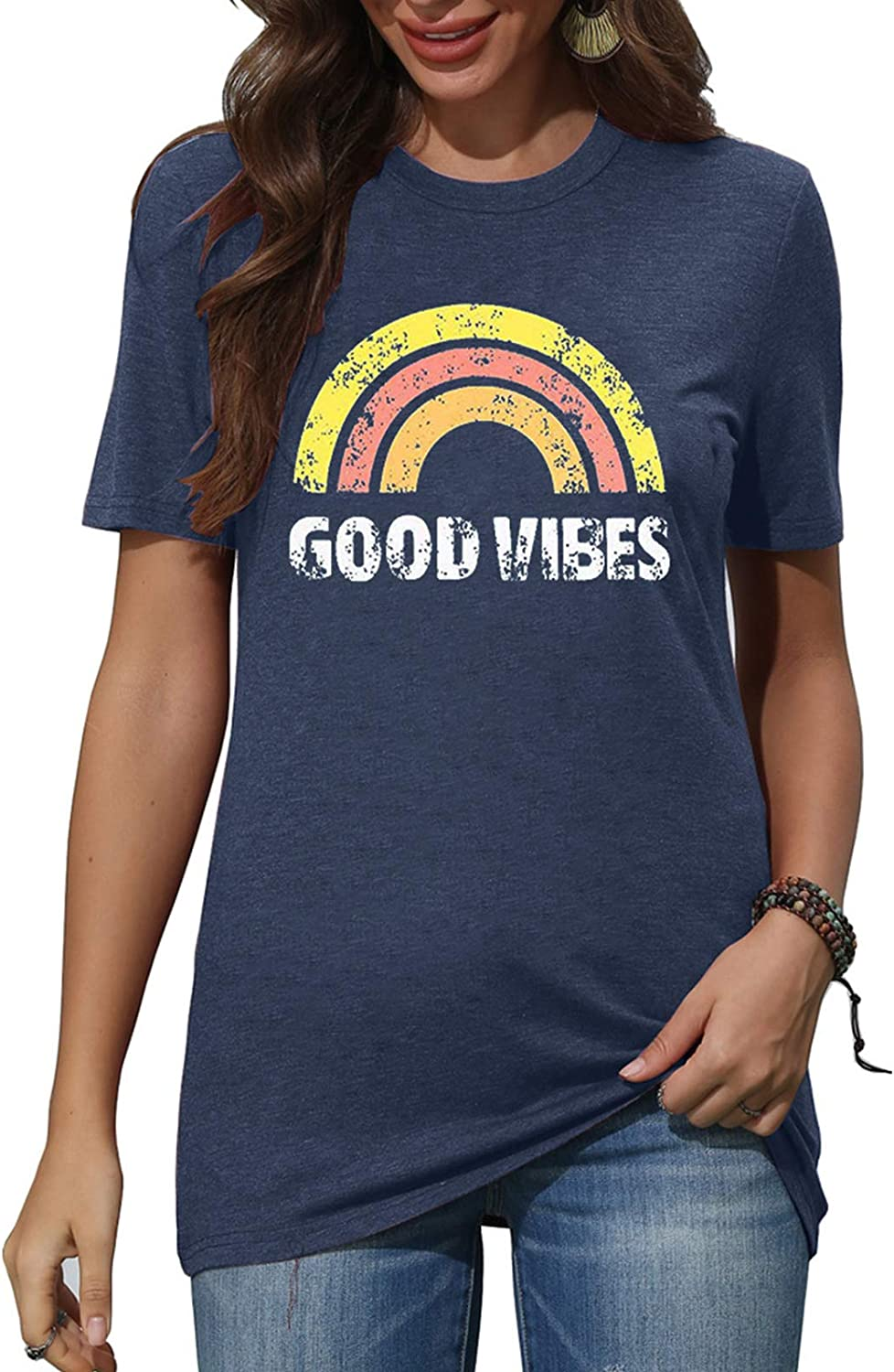 Womens Funny Graphic T-Shirts Letter Print Short Sleeve O Neck Summer Casual Tees Tops
