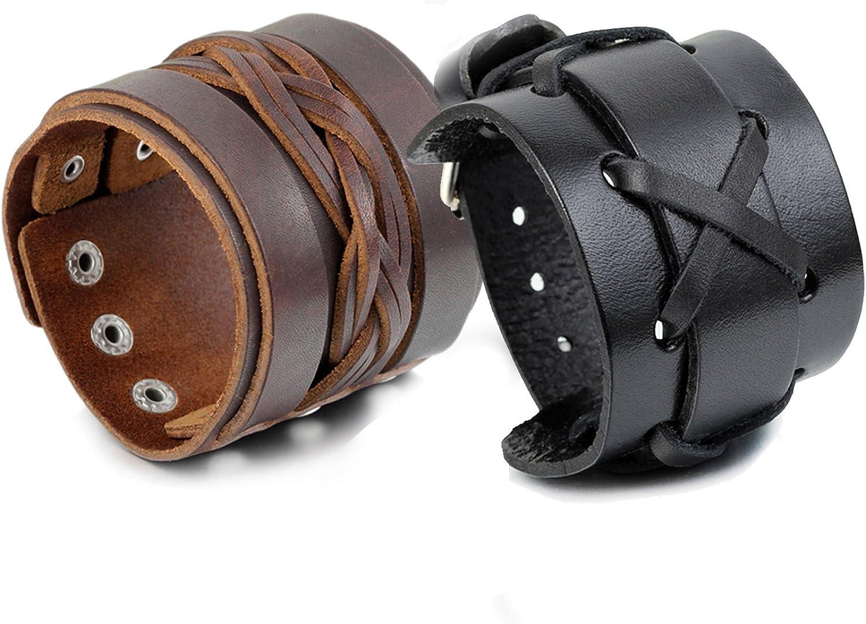 Cupimatch 2PCS Cool Punk Black/& Brown Wide Leather Bracelet Bangle Length Adjustable