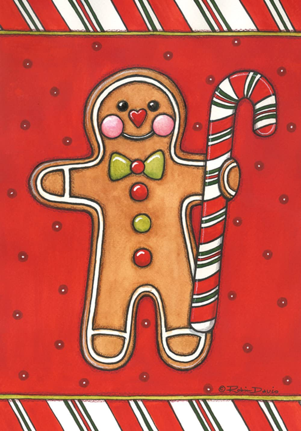 Toland Home Garden Gingerbread Man 12.5 x 18 Inch Decorative Colorful Christmas Holiday Cookie Candy Cane Garden Flag