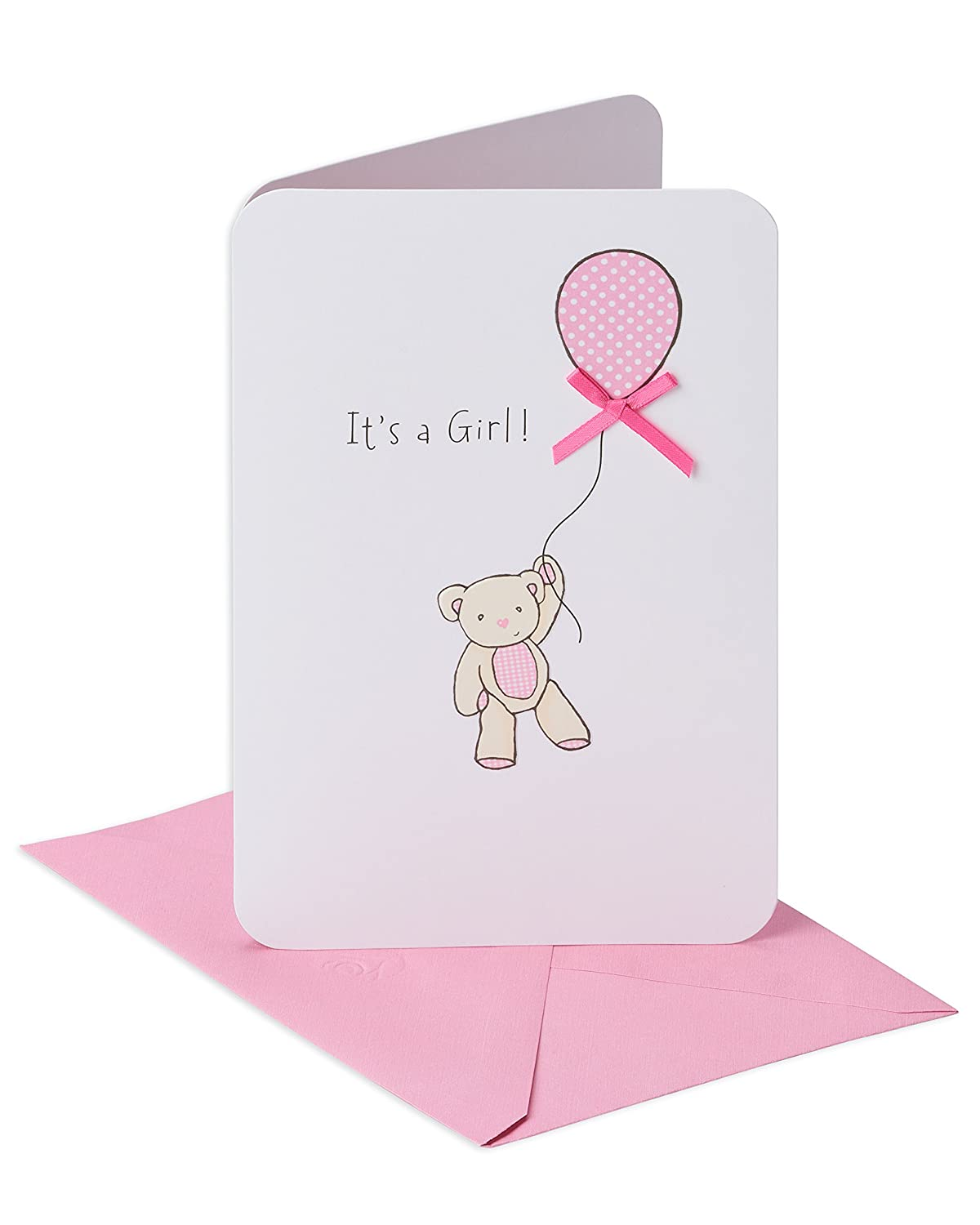 97563511ccefa American Greetings Bear with Balloon New Baby Girl Congratulations Greeting  Card with Ribbon