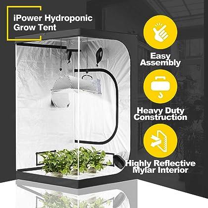 iPower 60x60x78 5x5 Hydroponic Mylar Grow Tent with