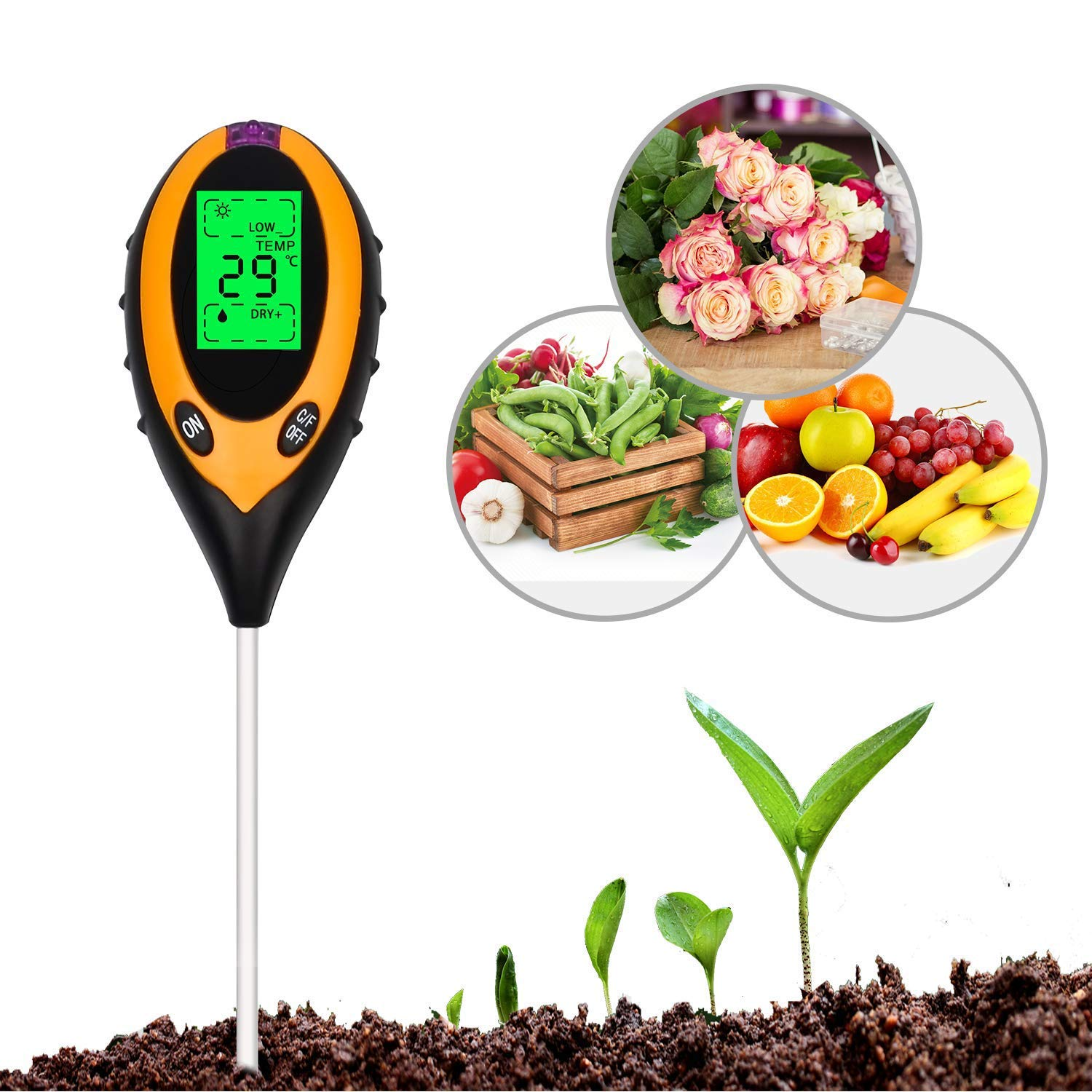 Indoor /& Outdoor Use Lawn Promote Plants Farm Soil Tester Digital Display 4 In1 PH Meter Temperature Moisture Humidity Sunlight Tester for Agriculture Plants Flowers, Garden