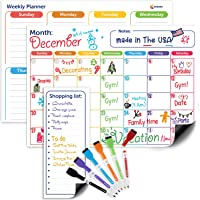 Magnetic Dry Erase Calendar Set – Fridge Calendar White Board with Weekly Planner; Grocery List; 6 Colored, Fine-Tip…