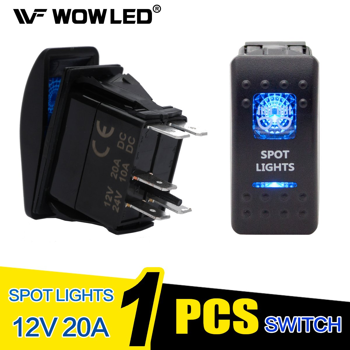 WOWLED Waterproof Zombie Light LED Illuminated Backlit Rocker Switch for Car Truck 4X4 SUV Boat Wow Factor
