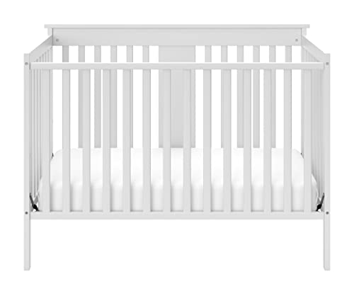 Storkcraft Mission Ridge Fixed Side Convertible Crib, White, Fixed Side Crib, Solid Pine and Wood Product Construction, Converts to Toddler Bed Day Bed or Full Bed, Mattress Not Included