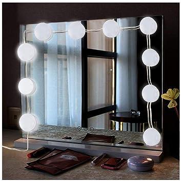 AOLVO Set de Luces Led para Espejo, 10 Bombillas Modelo Toque con Pegatina Doble Cara, Carga USB para Maquillaje: Amazon.es: Hogar