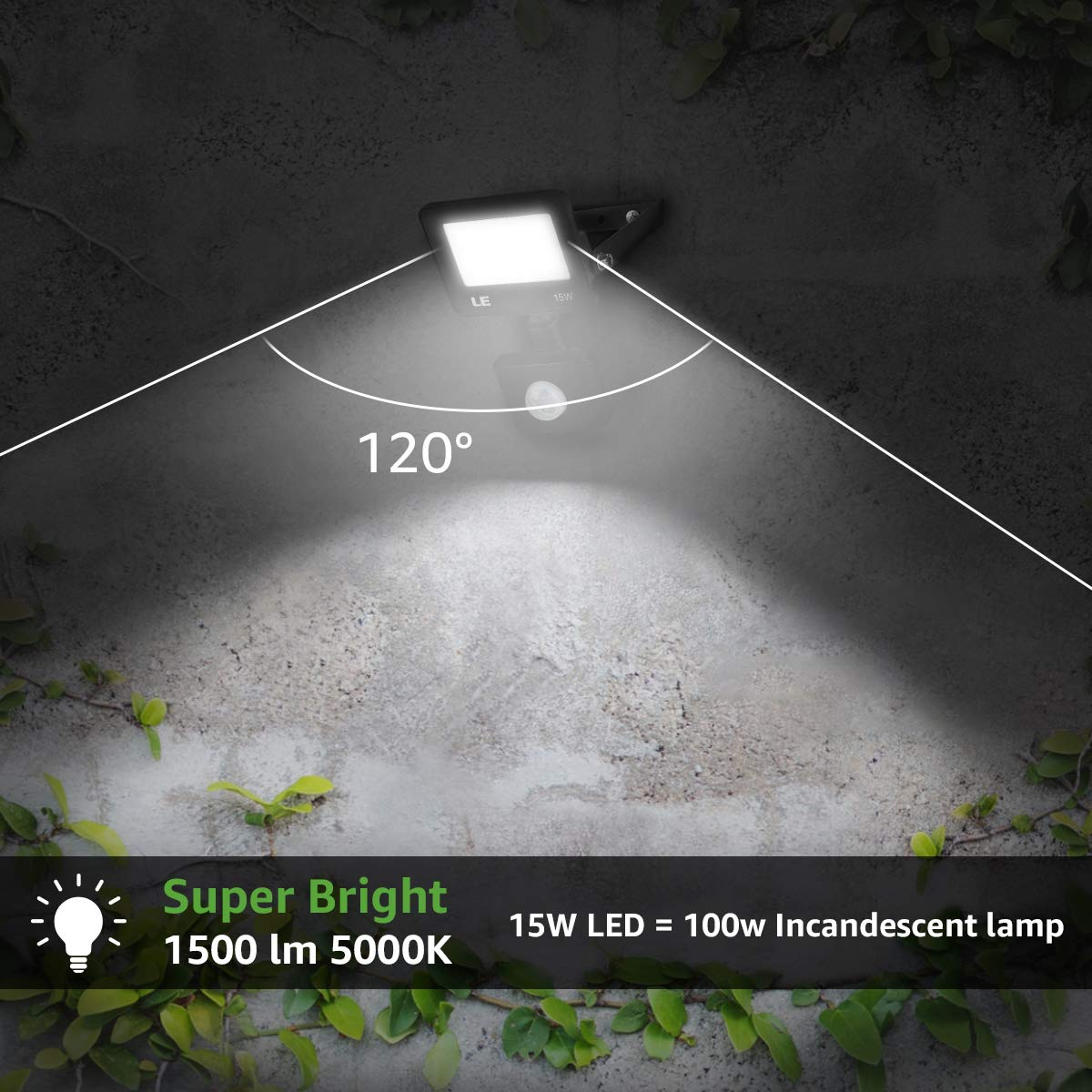 LE Security Lights with Motion Sensor Backyard Rooftop and More 30W Daylight PIR Sensor Floodlight 3000 Lumen Outdoor Lights for Patio IP65 Water-Resistant 200W Incandescent Lamp Equivalent