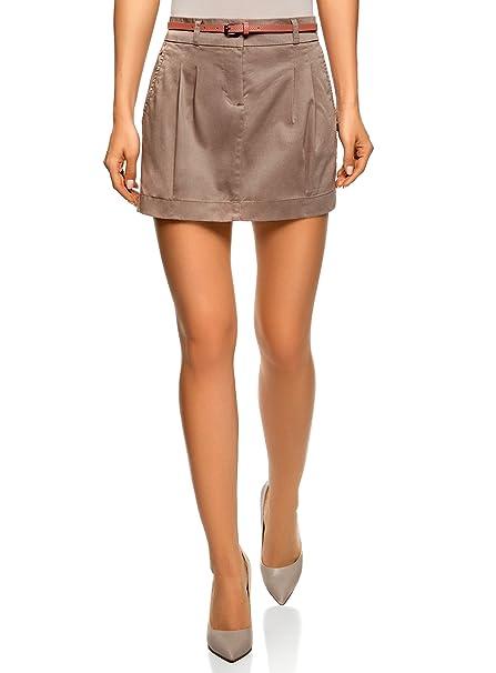 oodji Ultra Mujer Falda Corta de Algodón con Cinturón, Marrón, ES 34 / XXS