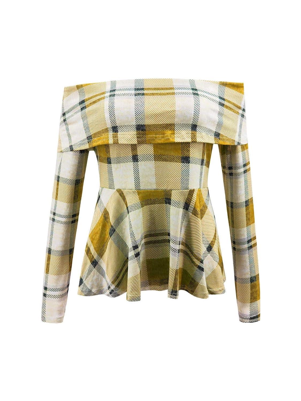 Dorical Femme T-shirts//Polos et Chemises-Haut /à carreaux /à /épaules d/énud/ées,Nouveaux produits 2019 printemps et /ét/é,Chemise,En vrac,Confortable,Respirant,La mode T-shirts//Tee,T-shirt /à manches Longues
