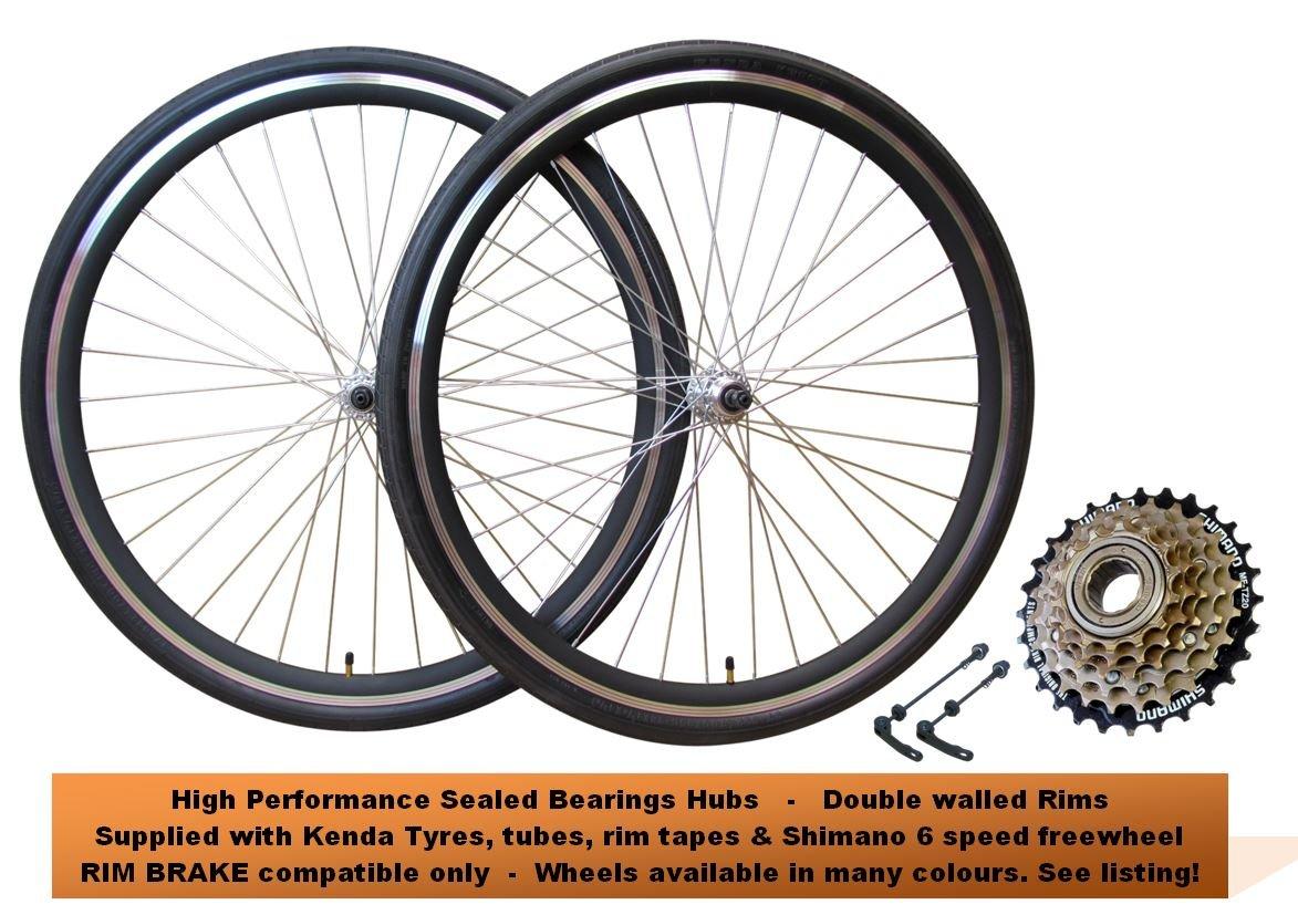 700 C bicicleta híbrida rueda frontal y trasero freno de llanta para bicicleta ruedas Semi Slick Tread 700 x 35 C Kenda neumáticos Shimano 6 velocidades ...