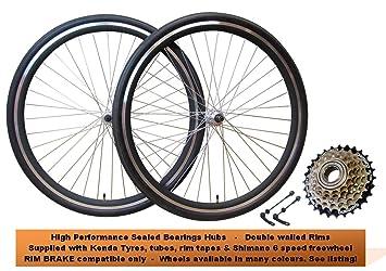 700 C bicicleta híbrida rueda frontal y trasero freno de llanta para bicicleta ruedas Semi Slick ...