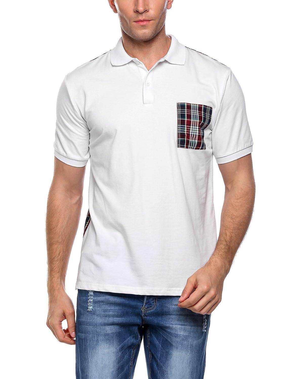 Coofandy Polo Hombre Manga Corta Cuadros con Bolsillo Tennis Shirt ...