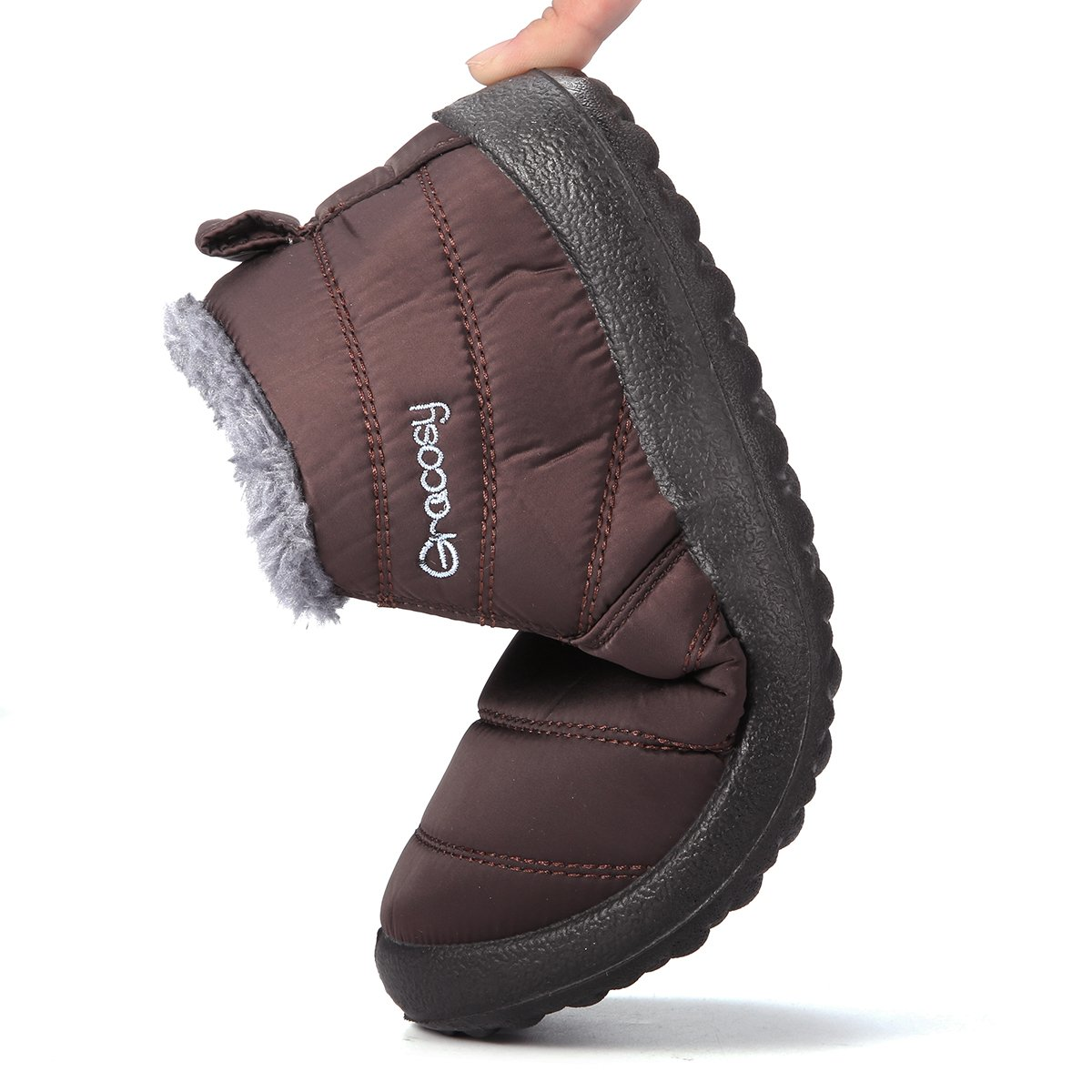 0d79507dd576e ... gracosy Women Snow Boots Winter Warm Fur Ankle Lining Slip On Flat  Ankle Fur Shoes Anti ...