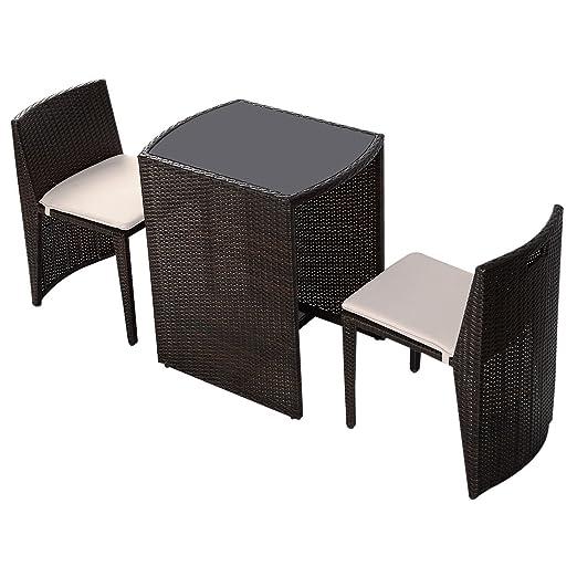 Costway 3PC Rattan Set Garden Bistro Cafe Tea Breakfast Chair Table ...