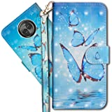 "Moto X4 Wallet Case, Motorola X4 Premium PU Leather Case, COTDINFORCA 3D Creative Painted Effect Design Full-Body Protective Cover for Motorola Moto X4 2017 (5.2"" inch). PU- Butterfly Spring"