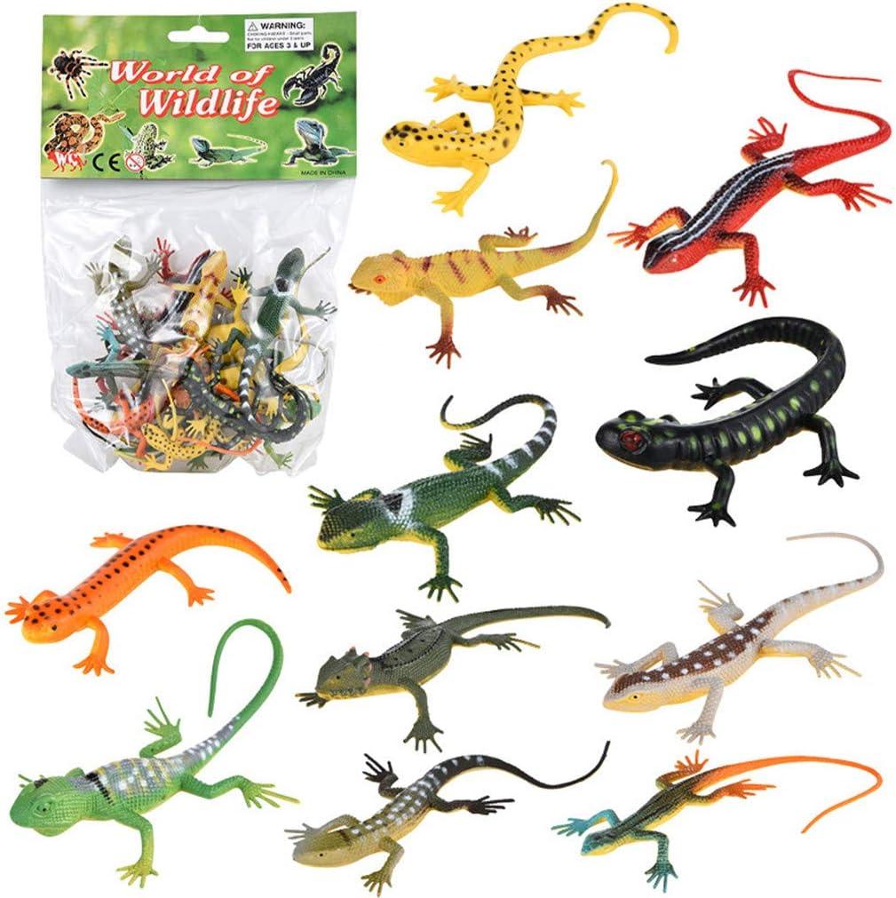 12Pcs Plastic Realistic Lizards Action Figures Reptile Models Kids Toy Ornaments