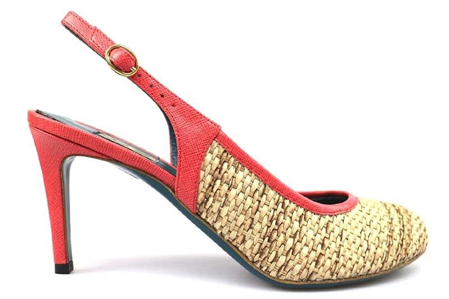 18 KT pumps woman beige red / beige yellow textile leather (8 US / 38 EU )