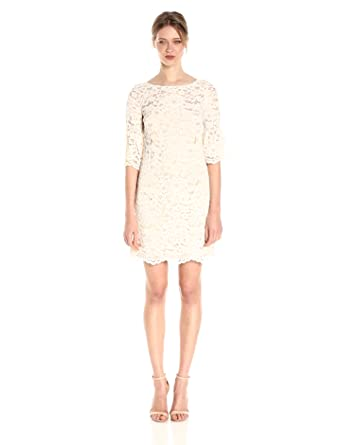 Cream Lace Sheath Dress