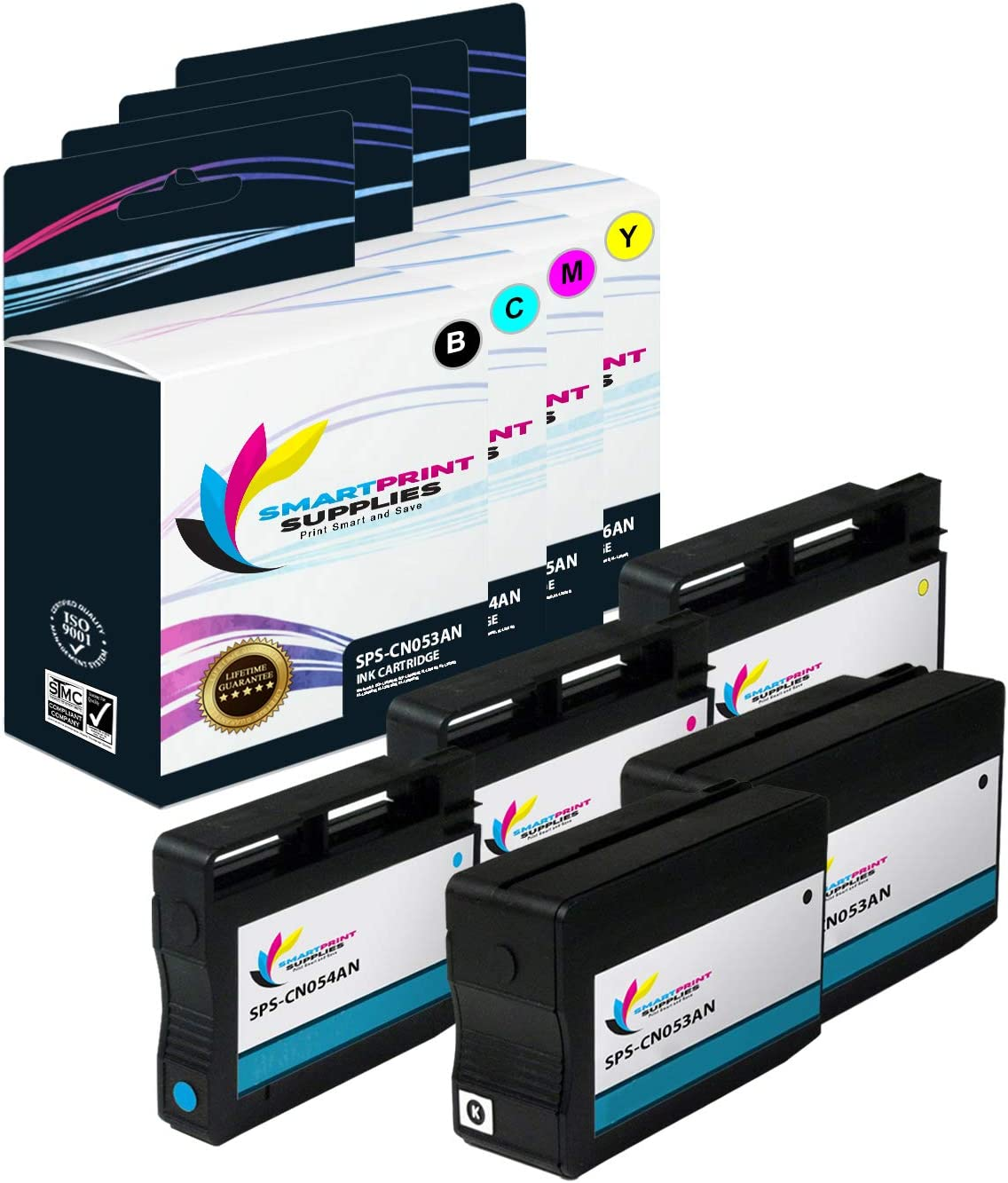 Black, Cyan, Magenta, Yellow ePrinter 7610 7612 Printers Smart Print Supplies Compatible 932XL 933XL High Yield Ink Cartridge Replacement for HP OfficeJet 6100 7110 - 5 Pack