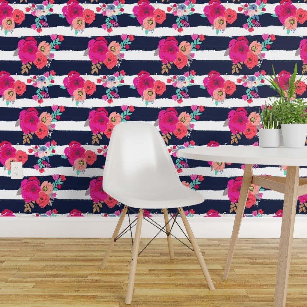 Spoonflower Peel And Stick Removable Wallpaper Floral Stripes