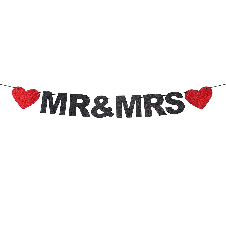 Amazon.com: Mr & Mrs - Pancarta con forma de corazón, diseño ...