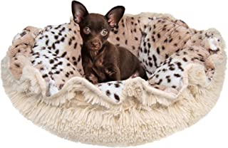 "product image for Bessie & Barnie Ultra Plush Deluxe Aspen Snow Leopard Blondie Pet Cuddle Pod Cat Bed, 30"" x 30"", Medium, Cream"