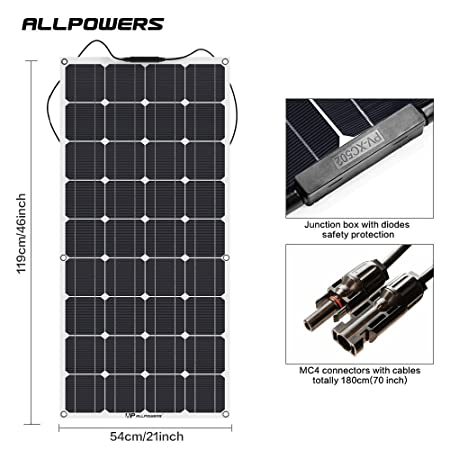 front facing allpowers 18v 12v 100w solar panel charger
