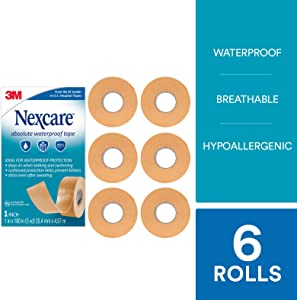 Nexcare Absolute Waterproof Tape, From the #1 Leader in U.S. Hospital Tapes, 1 Inch x 5 Yard Roll, 6 Rolls