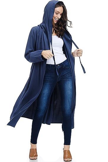 19ce3658a826 AD Womens Casual Long Gabardine Hooded Trench Coat W Waist Tie (Denim Blue