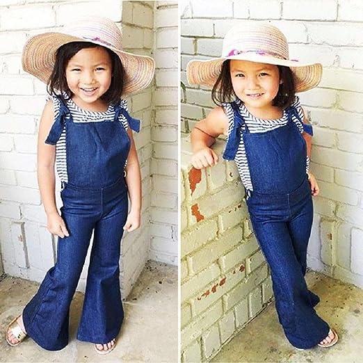 Amazon.com: Little Girl Denim overol, 2018 moda niños bebé ...