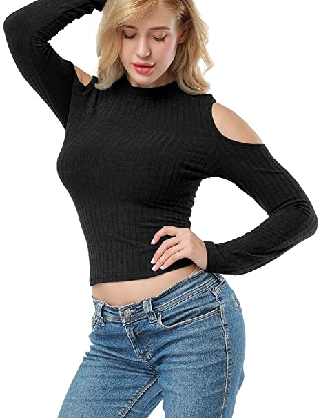 571d7e4d Allegrace Women Long Sleeve Cold Shoulder Crop Top Knit Bodycon Pullover T  Shirt Black S