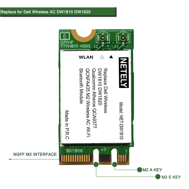 DW1810 QCNFA435 802.11AC 2.4GHz 150Mbps y 5GHz 433Mbps Adaptador inalámbrico con Bluetooth 4.1- DELL Inalámbrico DW1810