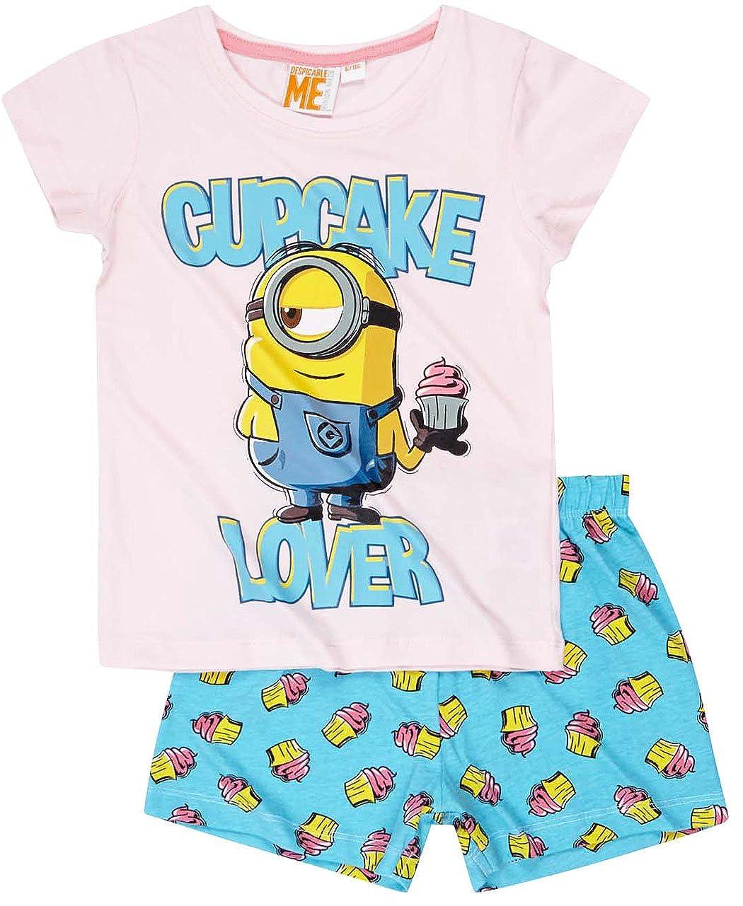 MINIONS Pyjama Court Enfant Fille Les Rose//Bleu de 6 /à 12ans