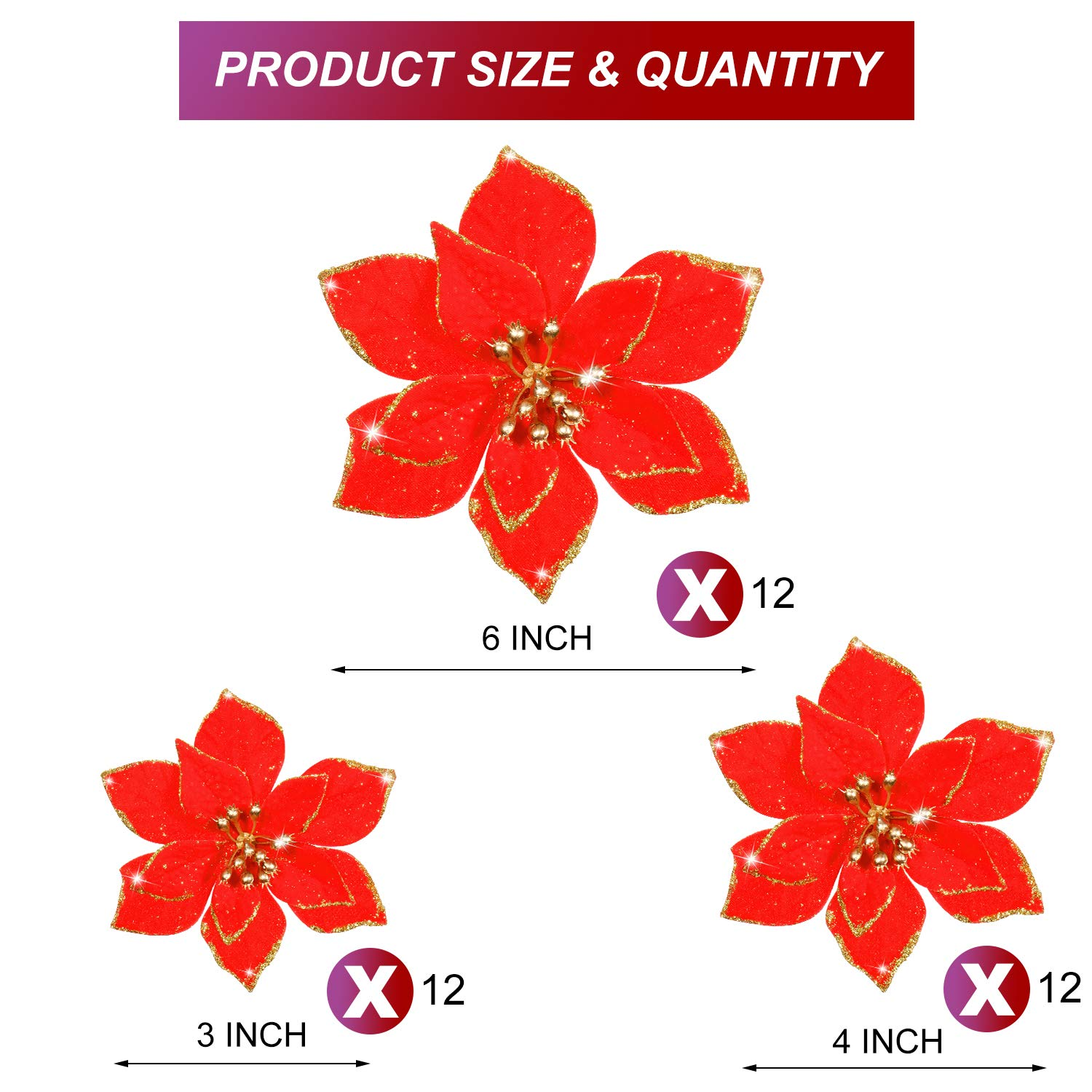 Blue, Hollow Style WILLBOND 36 pieces Festivous Wishel New Glitter Artificial Wedding Christmas Flowers Glitter Poinsettia Christmas Tree Ornaments,3//4//6 Inches