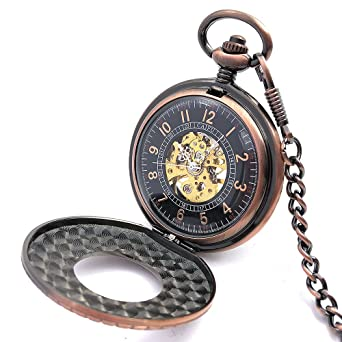 Copper Tone Wood Circle Hollow Case Arabic Number Dial Hand Wind Men Mechanical Pocket Watch w