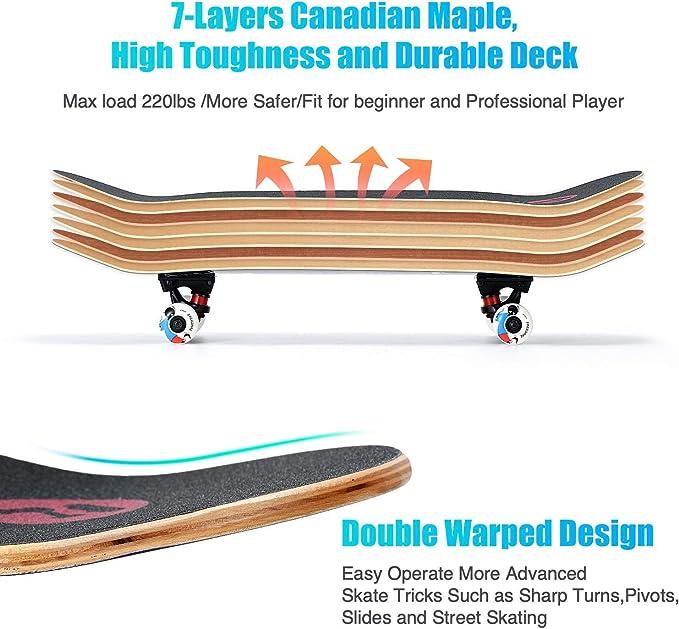 Adults /& Beginners 7 Layer Canadian Maple Deck FREEDARE Skateboard 31 X 8 Inch Complete Standard Skateboard for Kids