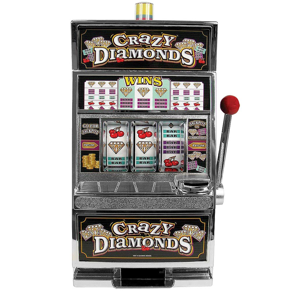 JOHN N HANSEN COMPANY Crazy Diamonds Slot Machine Bank - 15'' One Armed Bandit Gamble Your Savings by JOHN N HANSEN COMPANY