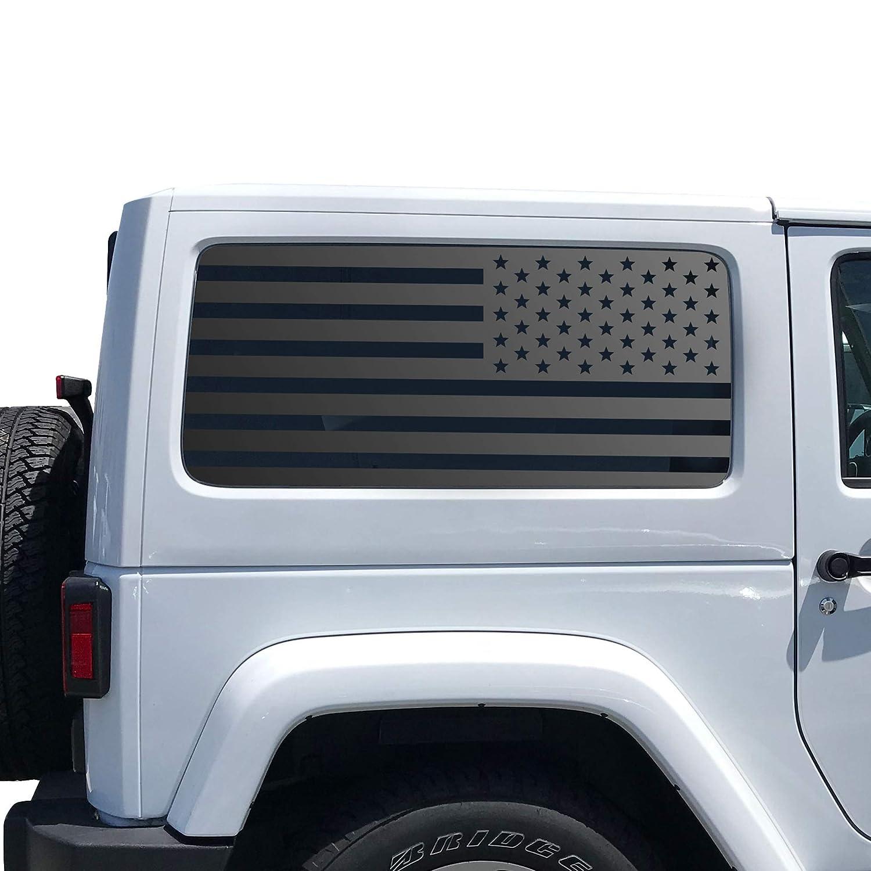 Hardtop Windows Custom Design QR1-JL2.A USA Flag Decals For 2007-2020 Jeep Wrangler 2 Door only
