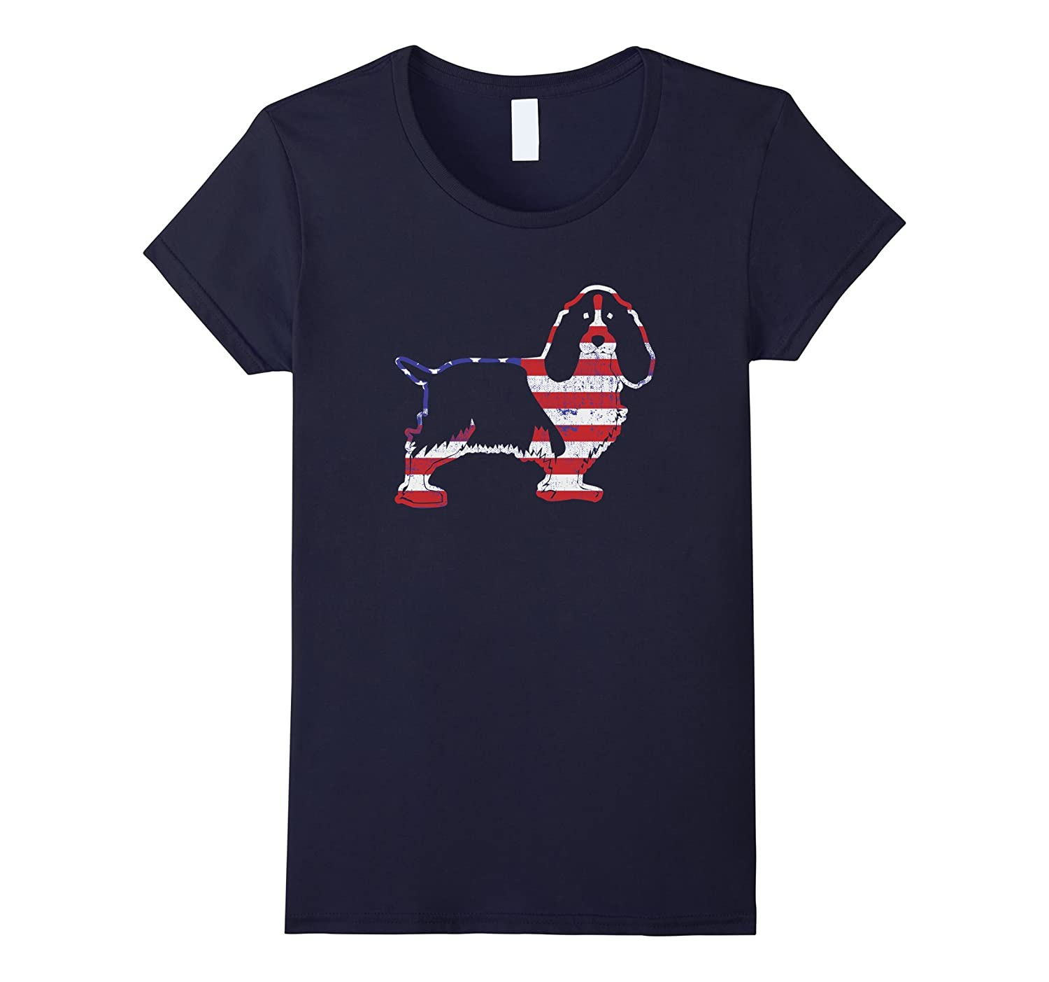 Patriotic Basset Hound Dogs American Flag T-shirt, Love Dog